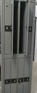 8 Compartment Hanging Garment Metal Lockers Gray