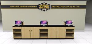 Retail Sales Counter Transaction Checkout Cash Wrap Store Modular Cabinets