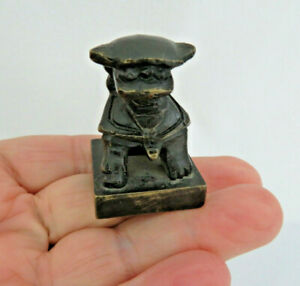Old Chinese Solid Bronze Foo Dog Chop Seal 2