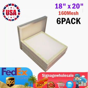 6pack 18 X 20 Aluminum Frame Silk Screen Printing Screens With 160 Mesh Count