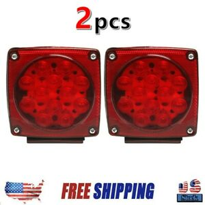 Red Led Submersible Square Light Trailer Under 80 Tail Brake Boat Stud Mount Us