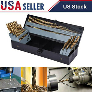 115pc Titanium Drill Bit Set W Metal Index Case Fractional Number Letter Steel