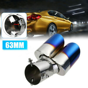 Car Rear Dual Exhaust Pipes Tail Muffler Tip Throat Blue Tailpipe Accessories
