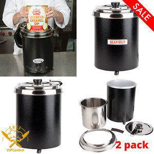 2 Pack 6 Qt Commercial Electric Soup Warmer Food Chili Nacho Cheese Restaurant