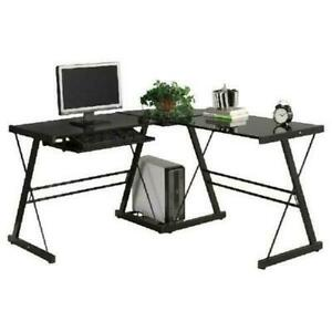 New L shaped Durable Stalinite Splicing Computer Desk 402c Black