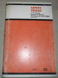 Case 1175 Tractor Operator Operation Maintenance Manual Book S n 8770001 up
