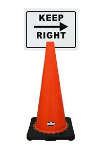 Rk safety 28 Orange Cone Black Base Without Reflective Tape Plus Cone Sign