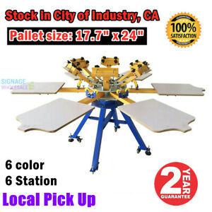 6 Color 6 Station Silk Screen Printing Machine T shirt Printer Press Carousel