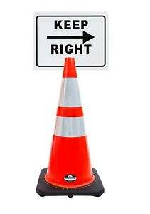 Rk safety 28 Orange Cone Black Base With Two Reflective Tape Plus Cone Sign