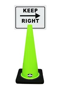 Rk safety 28 Lime Cone Black Base Without Reflective Tape Plus Cone Sign