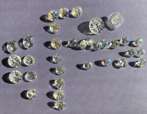 Antique Clear Crystal Glass Buttons Set Of 33