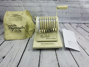 Paymaster Ribbon Writer Series 8000 Vintage Check Writer W Key And Cover Works