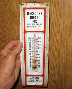Primitive Vintage Antique Metal Farm Supply Advertising Thermometer Rustic