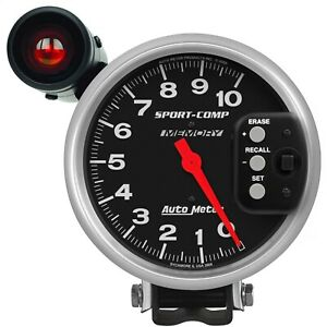 Autometer 3906 Sport Comp Shift Lite Memory Tachometer With Black Dial Face