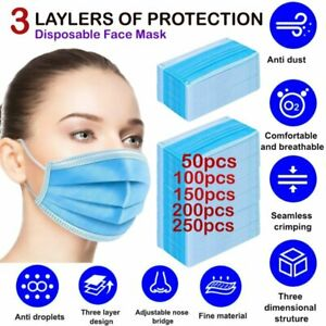 Disposable Protective Face Mask 3 ply Dust Filter Respirator Breathable Safety