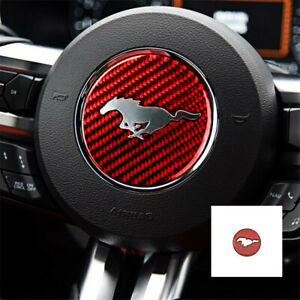 Red Carbon Fiber Steering Wheel Cover Emblem Trim For Ford Mustang 2015 2017