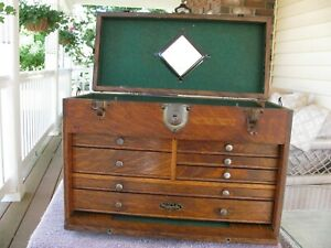 Usa Gerstner Oak Machinist Wood Tool Chest Box