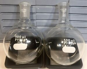 Lot Of Two Pyrex 24 40 500ml Round Bottom Flask Distilling Boiling Lab Glass
