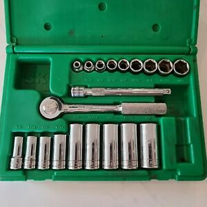 S k Tools Usa 20 pc 3 8 Drive Sae Socket Set Deep Well W ratchet In Abs Case