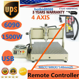 Cnc 4axis Router 6090 Engraver Usb Drill Mill Machine Metal Woodworking 1 5kw rc