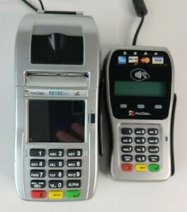First Data Fd130 Duo And Fd 35 Pin Pad credit debit Card Terminal