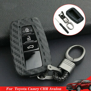 Carbon Fiber Look Key Fob Case Chain Cover Shell For Toyota Camry Chr Avalon New