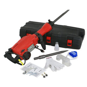 Demolition Jack Hammer Electric Concrete Breaker Punch 2 Chisel Bit W Case 2200w