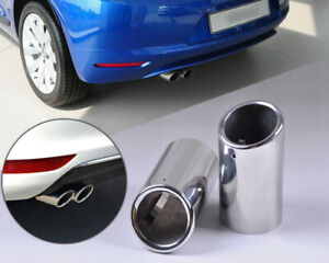 2x Chrome Exhaust Tail Muffler Tip Pipe Fit For Vw Scirocco 1 4tsi 2010 2011 Wh