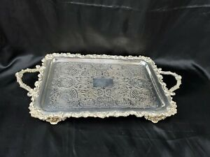 Antique Victorian Plated Silver Handled Tray With Feet Marked Fsg 11 X21