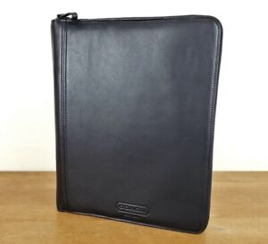 Coach Black Leather Portfolio W notepad Zip Closure Unused 298 Retail Folio