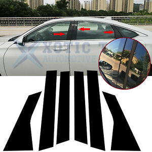 6x Black Window Pillar Post Molding Cover Trims For Honda Accord 10th 2018 2020