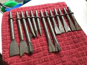 13 Piece Air Hammer Chisel Attachments Unmarked