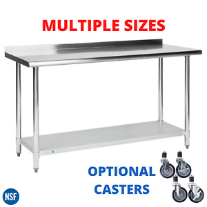 Work Table 2 Upturn Backsplash Stainless Steel Kitchen Prep Workstation Casters