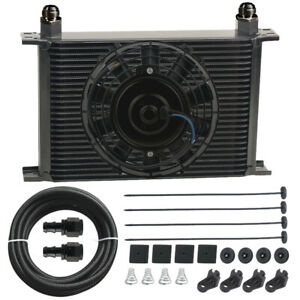 34 Row An10 Fittings Automotive Transmission Oil Cooler 9 Inch Electric Fan Kit