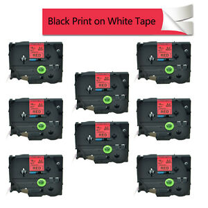 8pk Tz441 Tze441 Black On Red Labels Tape 0 7 For Brother P touch 18mm Pt18r