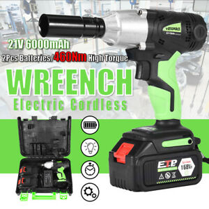 Cordless Electric Impact Wrench Gun 1 2 Drive 460nm Li Ion Battery High Power