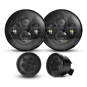 For Jeep Wrangler Jk 07 17 Black 7 Round Led Headlights Grill Turn Light Combo