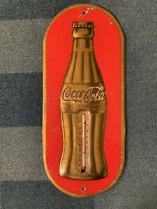 Vintage Antique 1930's Coca Cola Thermometer STILL WORKS 16.25x6.75