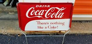 VINTAGE Tin enjoy Coca Cola Sign  there's nothing like a coke   16 x 16