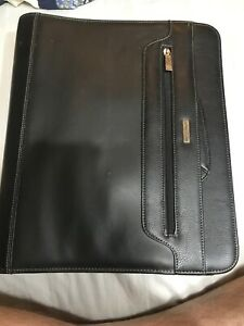 Franklin Covey Black Leather 3 Ring Binder And Carrying Case And Organizer