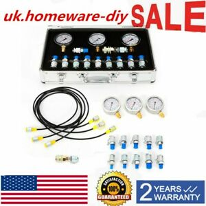 Excavator Hydraulic Pressure Test Kit Hydraulic Tester 10 Couplings carry Case