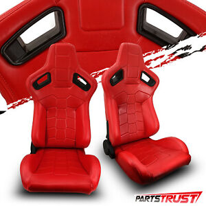 2 Universal All Red Pvc Leather Sport Racing Bucket Seats Left Right Pair