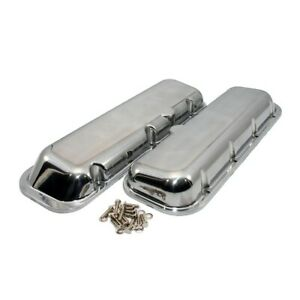 Bbc Big Block Chevy 454 Polished Aluminum Short Valve Covers No Breather Hole