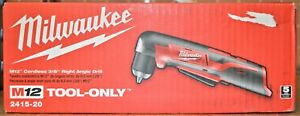 Milwaukee 2415 20 12v Li ion 3 8 Cordless Right Angle Drill Tool Only