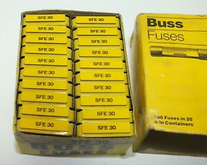 Buss Bussmann Sfe 30 Sfe30 Fuses Lot Of 100 Fuses In Packs Of 5 New In Box