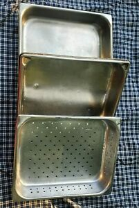 Stainless Steel Steam 1 2 Food Pans Lot Of 3 2 Solid 1 Perforated