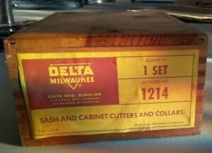 Delta Rockwell Sash Cabinet Shaper Cutter Set 1214 Factory Box Wood working