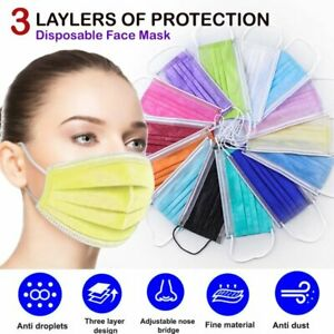 100 Pcs Disposable Face Mask 3 ply Dust Filter Respirator Breathable Safety