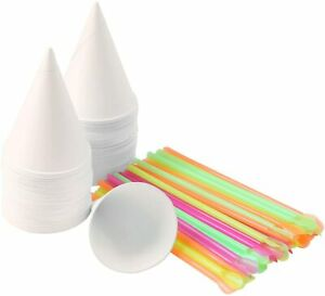 150piece Snow Cone Cups Shaved Ice Spoon Straws For Home Or Company High Quality
