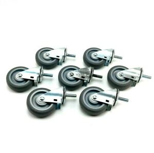 Lot Of 7 Shepherds Hard Silver Rubber Wheels Casters With Gray 2 3 Inch Wheels